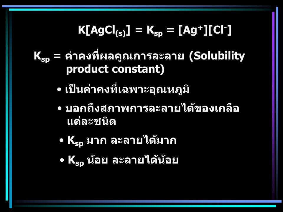 K[AgCl(s)] = Ksp = [Ag+][Cl-]